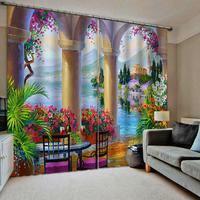 Blackout curtain window curtains for living room bedroom blackout curtains roman painting