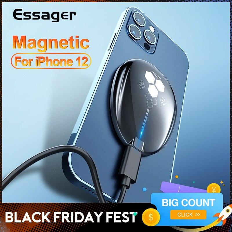 Essager 15w qi carregador sem fio magnético para iphone 12 11 pro max mini x 8 indução mágica rápido sem fio almofada de carregamento para apple|Carregadores sem Fio| - AliExpress