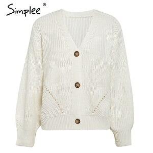 Image 5 - Simplee סקסי צווארון v סרוג נשים קרדיגן מזדמן מוצק כפתור בת שרוול סוודר קרדיגן אלגנטי סתיו גבירותיי סוודר חולצות