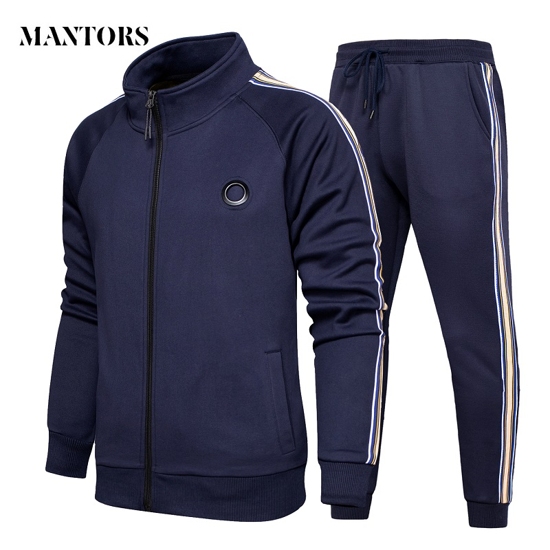 New Tracksuits Men Set Casual Fleece Hoodies+Pants Sets Autumn Sweatshirt Mens Sportswear Suit Male Solid Stripe Sporting Suits