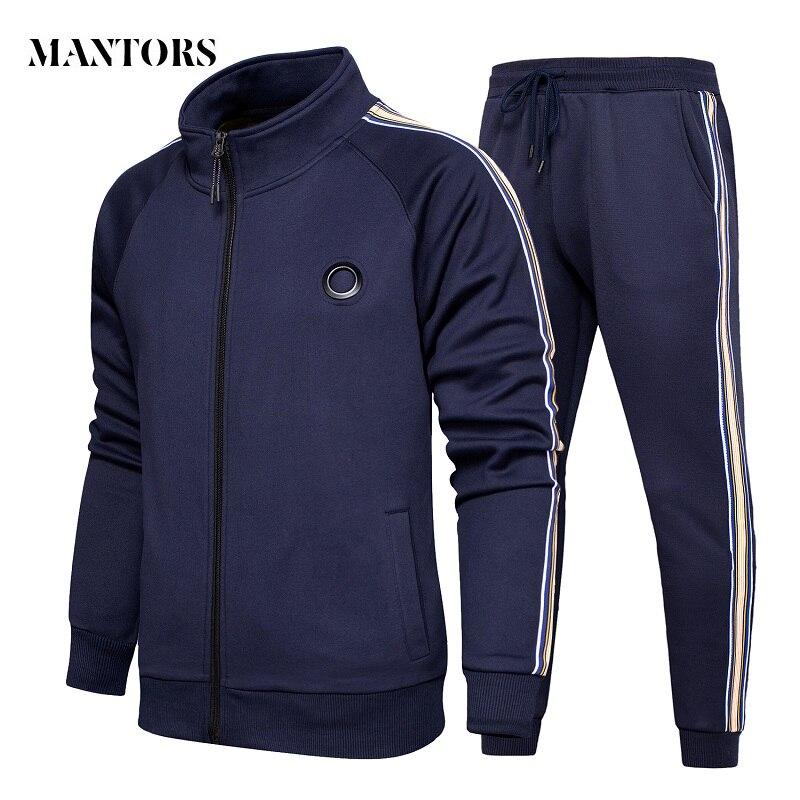 New Tracksuits Men Set Casual Fleece Hoodies+Pants Sets Autumn Sweatshirt Mens Sportswear Suit Male Solid Stripe Sporting Suits