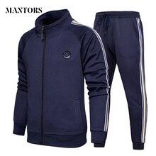 Yeni eşofman erkekler Set rahat polar Hoodies + pantolon setleri sonbahar kazak erkek spor takım elbise erkek katı şerit spor takım elbise