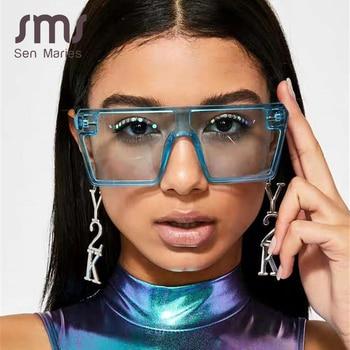2020 Oversized Square Sunglasses Women Luxury Brand Fashion Flat Top colorful Clear Lens Sun Glasses Vintage Men Gafas Glasses