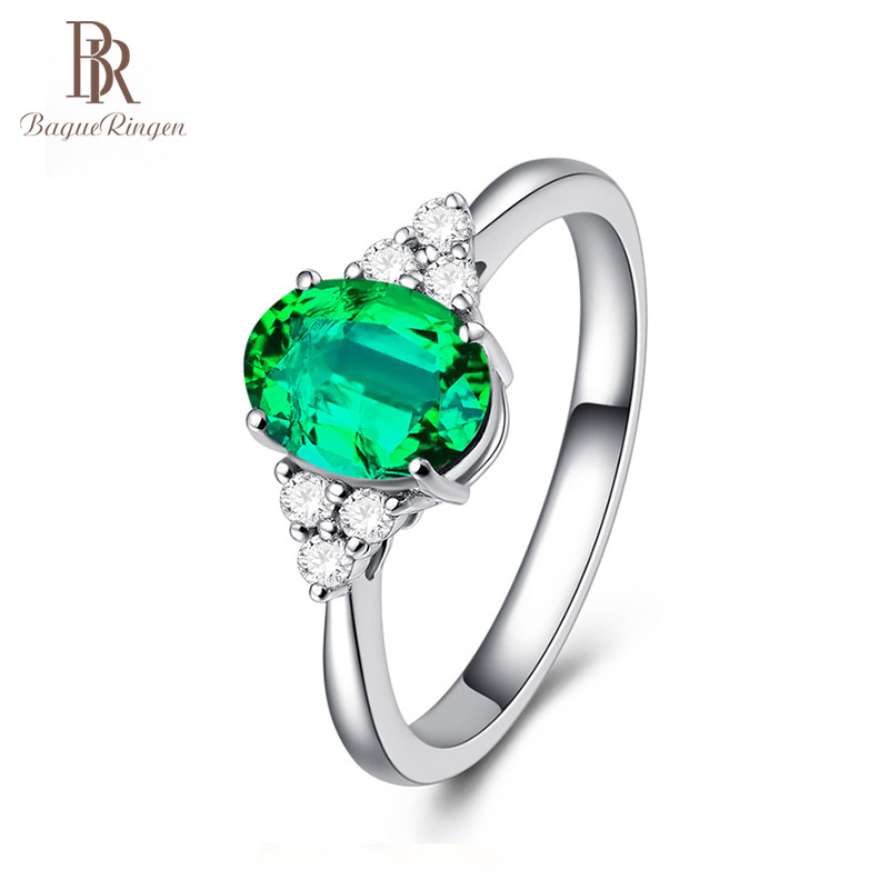 Bague Ringen 925 Sterling Silver Created Emerald Opening Adjustable Rings For Women Wedding Engagement Green Gemstone Ring Gift
