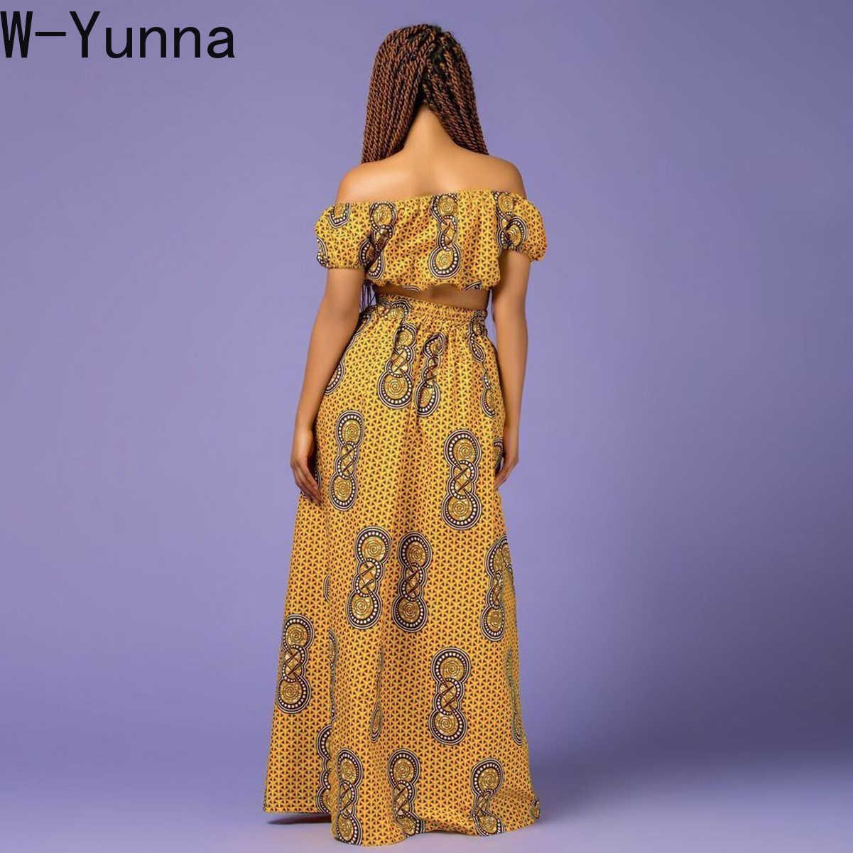W-yunna 2019 kwiatowy Print Slash Neck Tupe Top długie spódnice Sexy afryki zestawy dla kobiet Crop Top Maxi spódnica lato dwuczęściowy zestaw