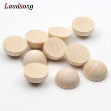 15-40mm couleur naturelle demi-rond Flatback perles de bois non poreuses perles en bois sans plomb non finies pour la fabrication de bijoux bricolage