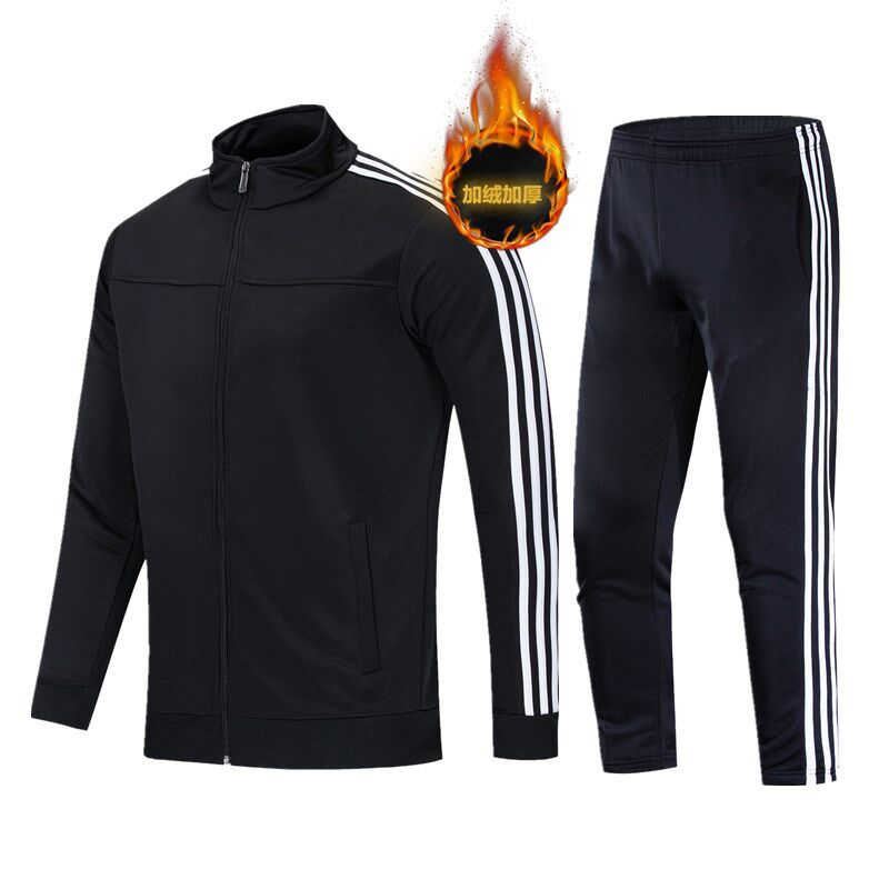 Leisure Sports Suit Couples Stand Collar Brushed And Thick Set Men's Autumn And Winter Two-Piece Set Running Sports Clothing Sch