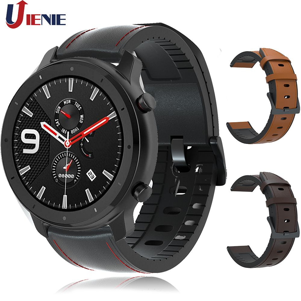 For GTR 47mm Leather Strap Watchband for Xiaomi Huami Amazfit PACE/Stratos 3 2 2S Watch Bracelet Band for Samsung Gear S3 Correa