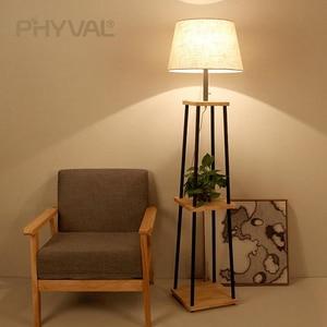 Image 5 - Lámparas de pie de madera de estilo nórdico, accesorio de iluminación minimalista, para sala de estar, dormitorio, lámpara de pie, interruptor de botón de tela
