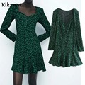Klkxmyt Frühling 2021 Green Floral Print Za Kleid Frauen Casual Rüsche Langarm Mini Kleid Frau Elastische Vintage Kleider