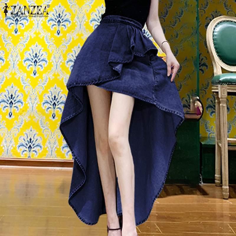 Women Sexy Mini Asymmetrical Hem Skirts 2020 ZANZEA Fashion Lady Cotton Linen Faldas Female Solid Pockets Ruffles Short Skirt