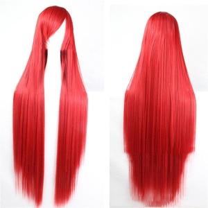 Image 1 - Pageup 100 センチメートルロングストレートかつら前髪耐熱人工毛女性のための赤茶色ブロンドウィッグ