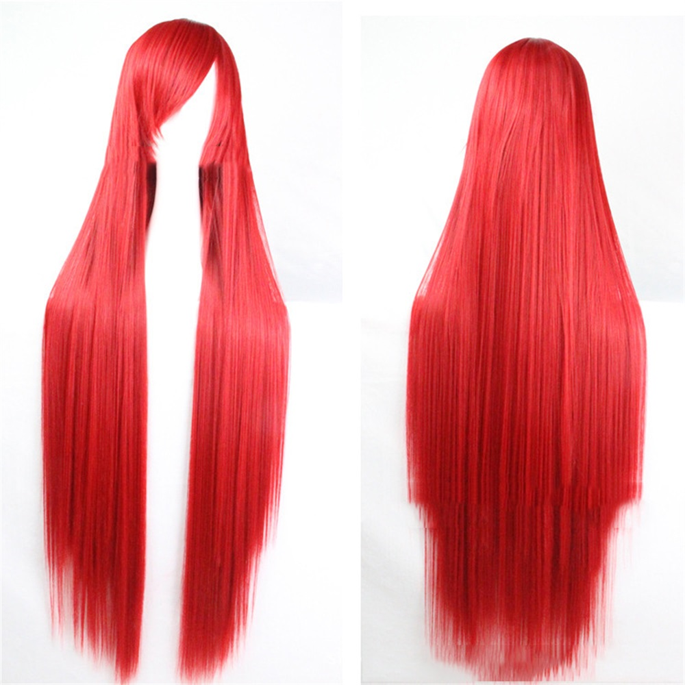 Pageup 100cm Long Straight Wigs With Bangs Heat Resistant Synthetic Hair For Women Red Brown Blonde Cosplay Wigs