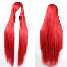Pageup 100cm długie proste peruki z grzywką żaroodporne syntetyczne włosy dla kobiet czerwone brązowe blond peruki Cosplay