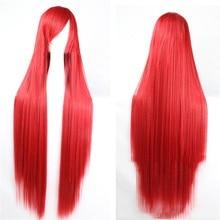 Pageup 100cm uzun düz peruk patlama ile isıya dayanıklı sentetik saç kadınlar için kırmızı kahverengi sarışın Cosplay peruk