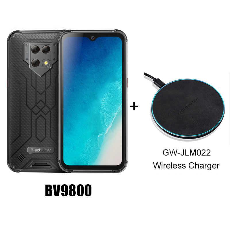 "Blackview BV9800 48MP מצלמה Smartphone 6.3 ""FHD מסך IP68 עמיד למים P70 אנדרואיד 9.0 6GB + 128GB אלחוטי טעינת טלפון נייד"