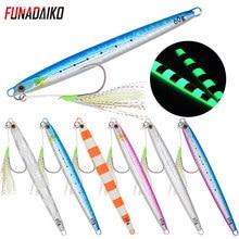 Funadaiko isca de pesca lenta, isca de pesca de metal lenta, colher de jigging, 20g, 30g, 40g, 60g isca de chumbo de metal para pescar
