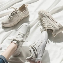 Women Shoes Fashion Sneakers Pu Leathers Solid Flats Shoes Woman Brand White Shoes Breather Lace-up Platform Zapatos De Mujer