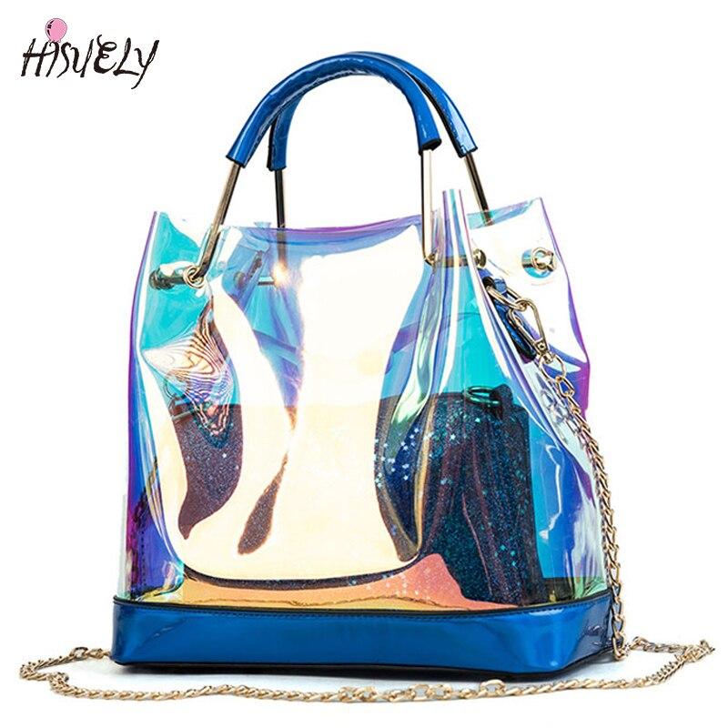 HISUELY BEACH Transparent Hologram Laser Handbags Bag Women Jelly Shoulder Bag Female Harajuku Big Tote Girl Messenger Bag BAG20