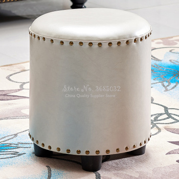 Pu Fashion Creative Sofa Stool Home Solid Wood Leather Pier Round Chair Living Room Low Shoe Stool Small Bench