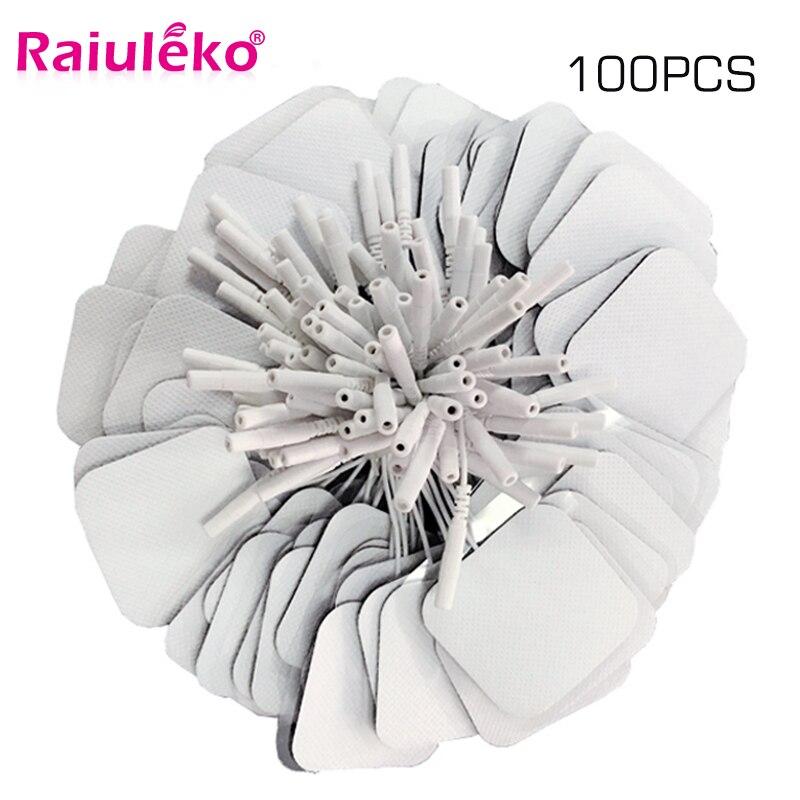 100 Pcs 5x5cm 2 milímetros Plug Reutilizável eletrodos Dezenas Eletrodo Pads Para O Nervo Estimulador Muscular Digital Fisioterapia massageador