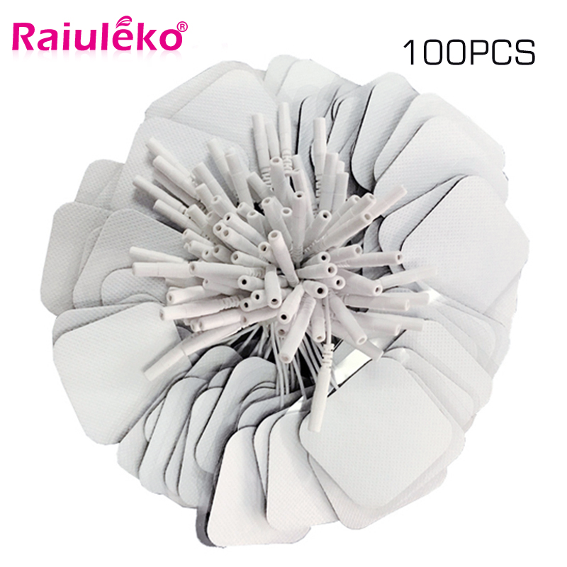100 Pcs 5x5cm 2mm Plug Reusable electrodes Tens Electrode Pads For Nerve Muscle Stimulator Digital Physiotherapy Massager-in Massage & Relaxation from Beauty & Health