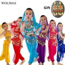 Детский набор костюма для танца живота Восточный танец девушки танец живота Индия танец живота одежда танец живота дети Индийский 6 цветов