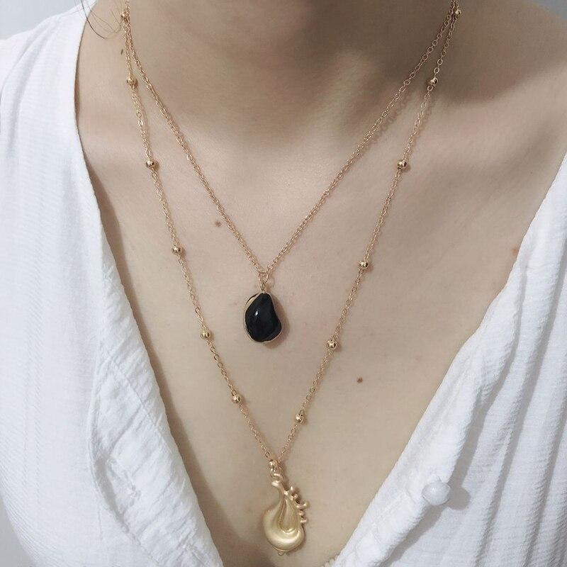 Exknl Fashion Layered shell Collar Choker Necklace Vintage Boho Big Pendant Women Summer Beach Jewelry Collier 2019
