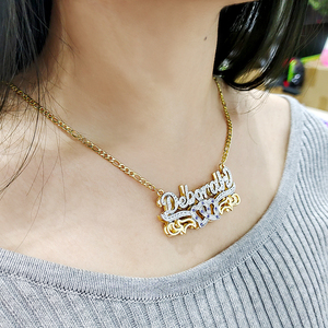 DODOAI Custom Necklace Double Gold plated Nameplate 3D Necklace Personalized Necklaces Choker Diamond Birthstone Necklace
