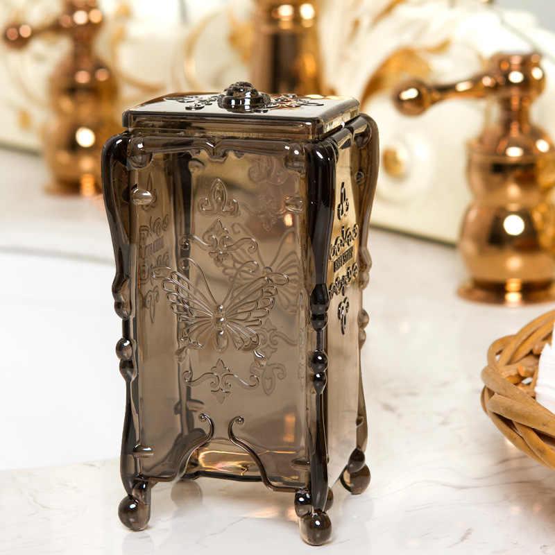 Европейская ретро хлопковая коробка для хранения вертикальная хлопковая коробка прозрачная пластиковая коробка для снятия макияжа хлопковая коробка Пылезащитная коробка для салфеток Салфетка коробка