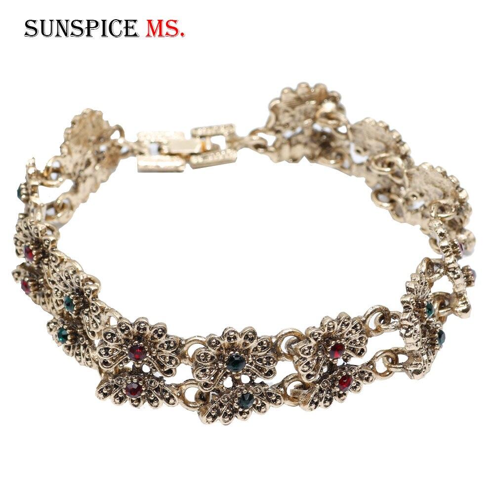 Sunspicems Retro Gold Silver Color Women Vintage Charm Bracelet Turkish Flower Metal Wrist Chain Bohemia Ethnic Wedding Jewelry
