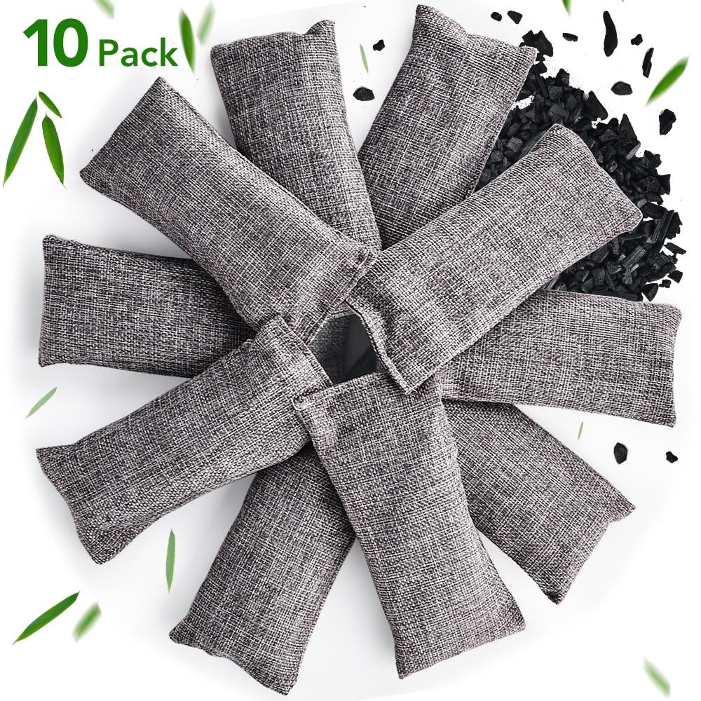 10 pièces bambou sac de charbon de bois naturel désodorisant sac déshumidification Air purifiant sacs voiture maison assainisseur d'air purificateur