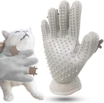 HEYPET Pet Grooming Gloves Made of Soft Silicon to Provide Softer and Comfortable Message of Pets Suitable for Removing Extra Hairs of Long Hair Dogs and Cats