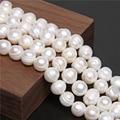 Белые бусы из натурального пресноводного жемчуга класса АА, 6-13 мм, картофельные круглые жемчужины для самостоятельного изготовления ювели...