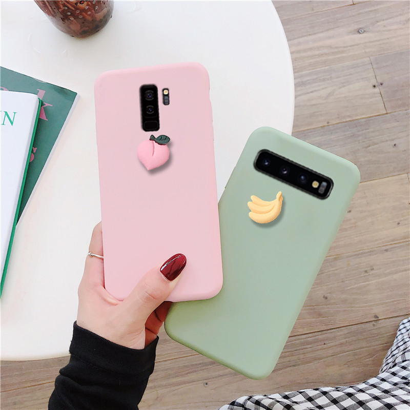 Cute 3D fruit banana peach grape case for Samsung Galaxy S10 5G S10E S9 S8 plus S7 S6 edge lovely soft tpu back cover funda capa in Fitted Cases from Cellphones Telecommunications