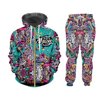 UJWI 3D Print Men 2 piece set Music Note instrument Party Hip Hop jogger Tracksuit Jacket Sweatsuit Sweatshirt Hoodies sports 2