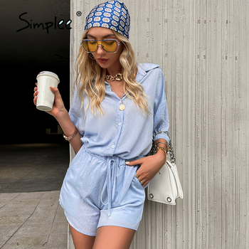 Simplee Casual white women solid two piece woman short suits long sleeve solid Fashion spring summei ladies outerwear 2021 1