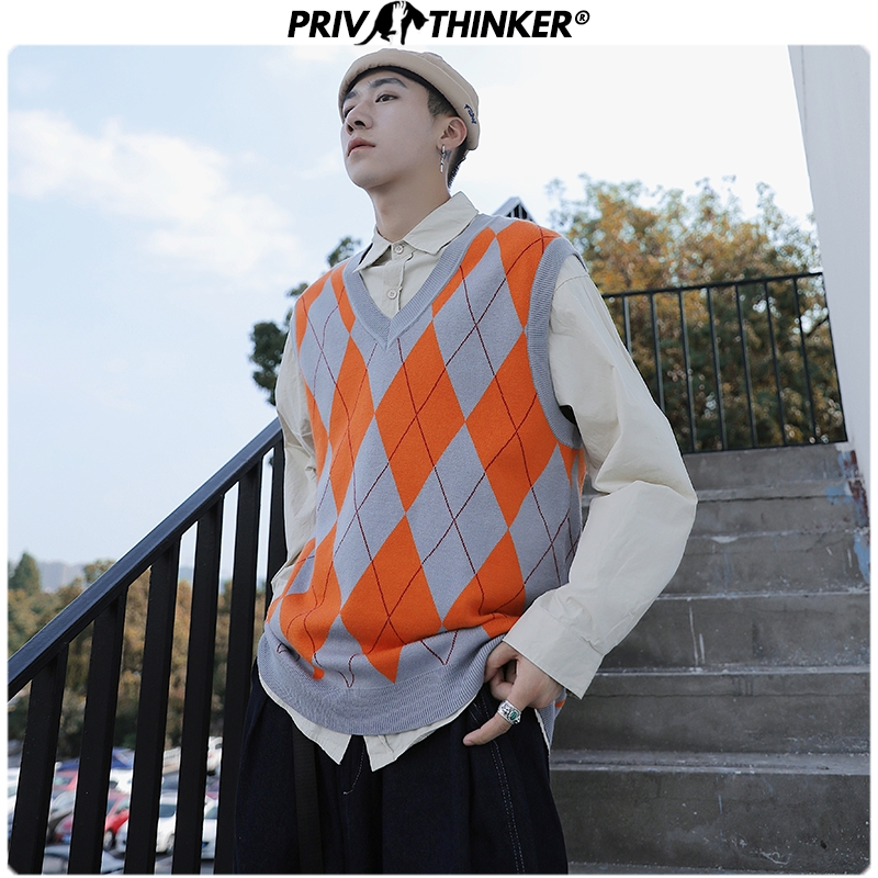 Privathinker 2019 Autumn Winter Korean Sweater Vest Men Pullover Tops Casual Male Sleeveless Solid Streetwear Mens Sweater Vest