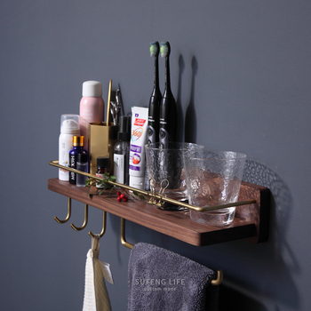 Towel Rack with Hook Wall Toothbrush Cup Holder Brass Cosmetics Storage Rack Solid Black Walnut Wood Bathroom Corner Shelf 45cm