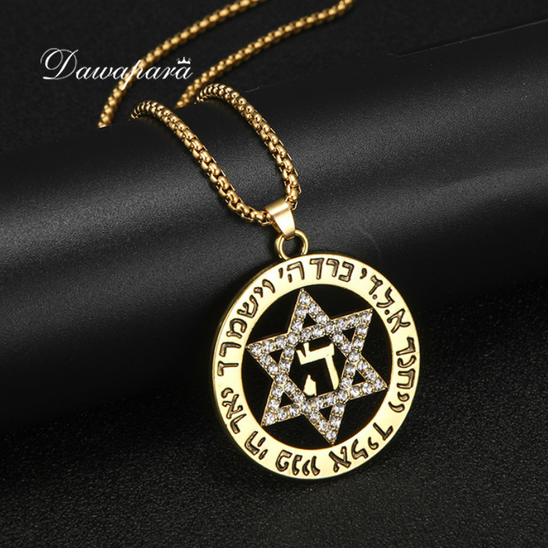 Dawapara Star of David Fashion Necklaces for Women Statement Israel Supernatural Pendants Jewelry Rhinestone Charms