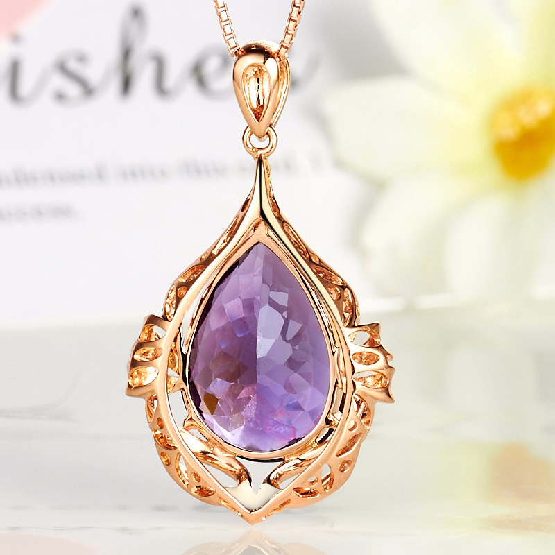African Classic Purple Crystal Pendant Necklace Charm Women Party Jewelry Water Drop Shape Birthday