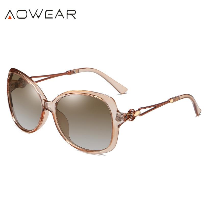 C4 Beige Beige AOWEAR 2020 Oversized Retro Women s Sunglasses Women Polarized Luxury Brand Gradient Shades Sun Glasses Lady