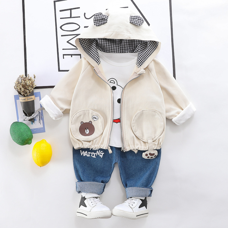 HYLKIDHUOSE 2020 Spring Baby Girls Boys Clothing Sets Hooded Bear Coats T Shirt Jeans Toddler Infant Clothes Children Clothing