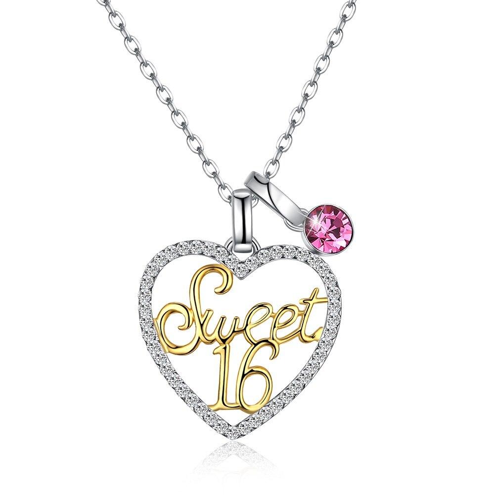 Mode cristaux de luxe de cristal S925 argent Sterling variété daphné coeur doux 16 collier pendentif en cristal