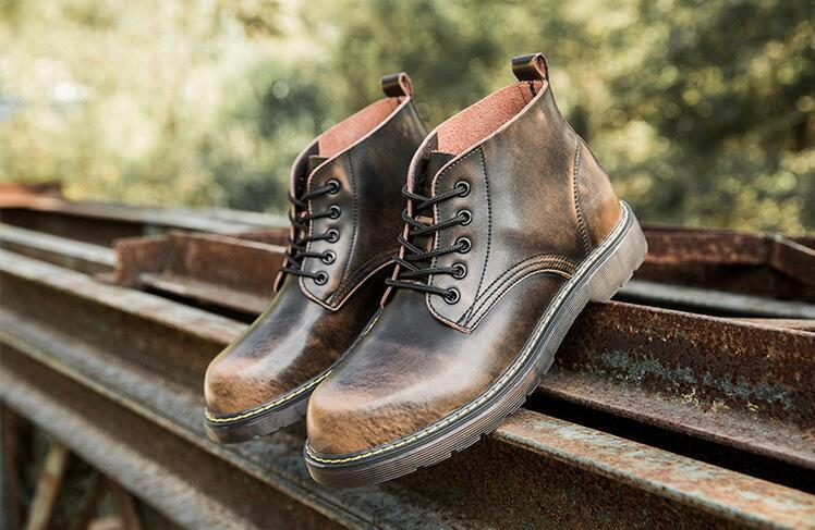 Spring Autumn Genuine Leather  Lace-up Ankle Boots  Fashion Falt Dress Shoes Round Toe Martin Boots Big Size 47