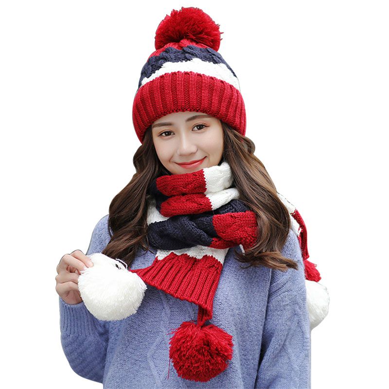2020 New Fall Winter Thick Knit Women's Scarf Hat Set Warm Fashion Knit Cute Pompom Scarves Shawl Ladies Beanies And Scarf Caps