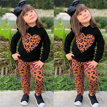 Toddler Baby Girls Long Sleeve Love Leopard Print Hoodie Tops+Pants Outfits Sets Children's suit High Quality(China)