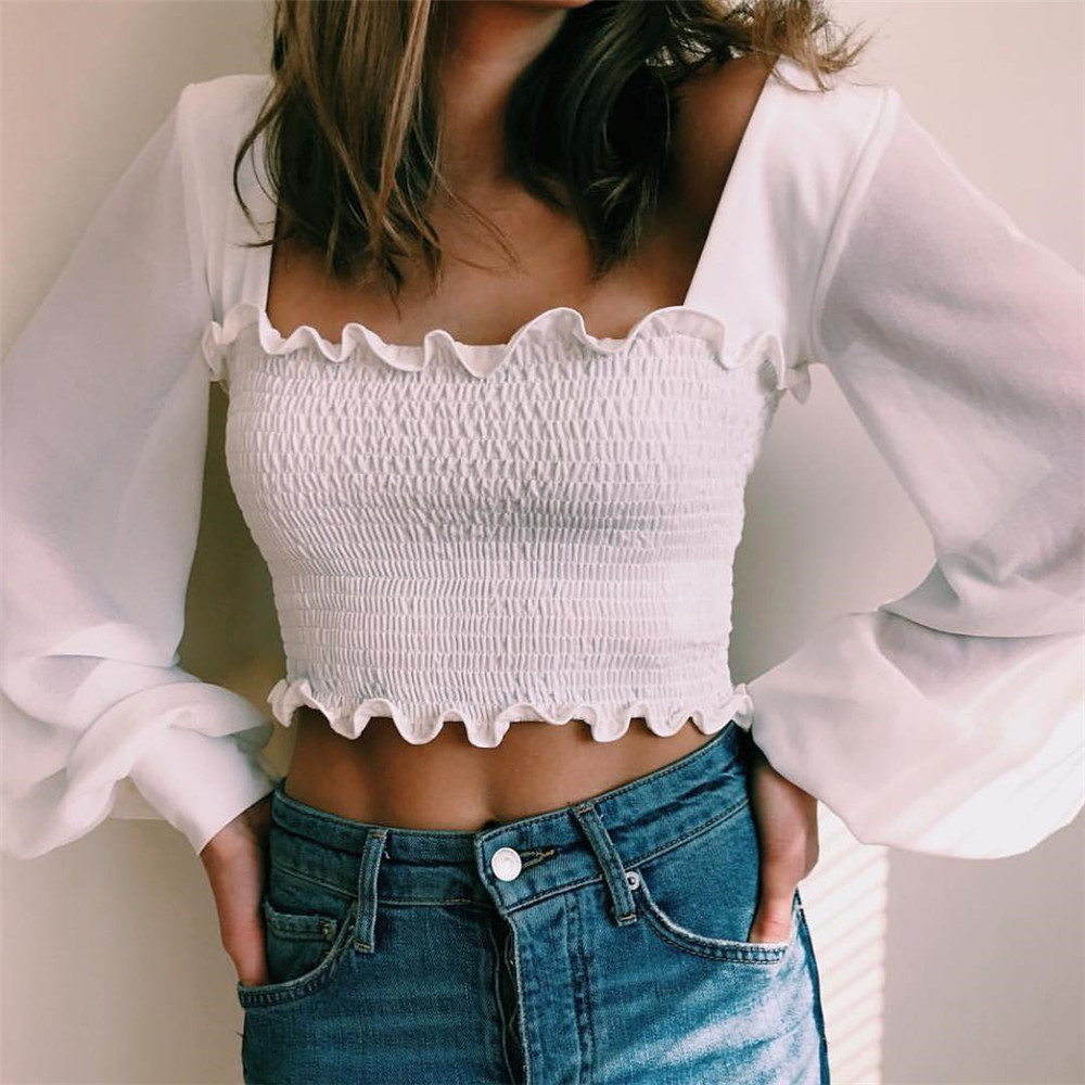 2020 French Romance Ruffles See-through Tops Women Blouse Spring Summer Elegant Ladies White Black Stretch Slim Clothes