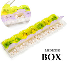 Caixa semanal do comprimido da medicina do curso das grades do caso 7/14 do comprimido para o recipiente de armazenamento da caixa da vitamina do divisor da droga da tabuleta de 14/7 dias