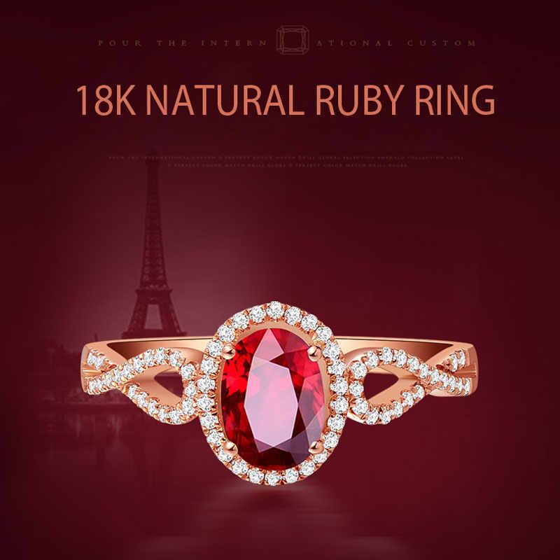 Ataullah Tự Nhiên Màu Đỏ Ruby Sao Bạc 925 18 K Hoa Hồng Mạ Vàng Khảm 3A Zircon Đá Quý Nhẫn Trang Sức Viễn Chí Bảo dành Cho Người Phụ Nữ RW085